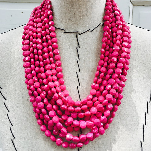 Layered Beaded Statement Necklace - Pink
