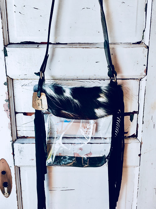 Hetty Clear Tri Colored Hide, Black Suede Fringe Bag Cow Tag 51