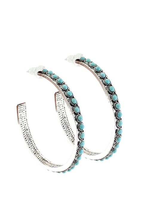 Turquoise Colored Large Hoops