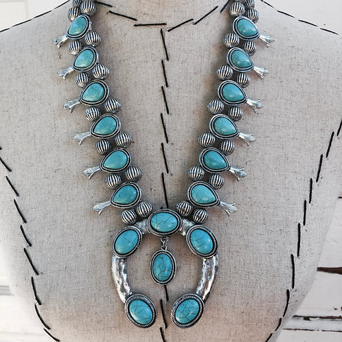 Hammered Metal Squash Blossom Turquoise Colored Necklace