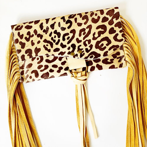 Belt Bag Leopard Cow Hide Rodeo Clutch, Mustard Deer Skin Fringe