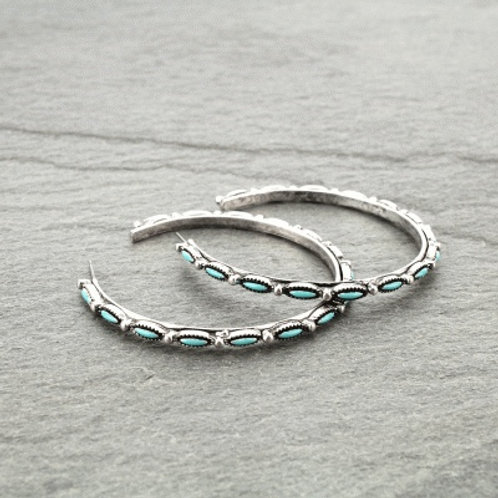 Turquoise Colored Stone Hoop Earrings