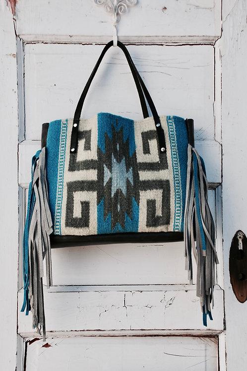 Hank Henrietta Handwoven Zapotec Saddle Blanket Handmade Weaving Tote