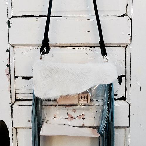 Hetty Clear Stadium Bag Policy,Cream Hide & Grey Suede Fringe