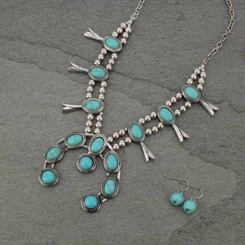 Petite Squash Blossom Turquoise Colored Necklace