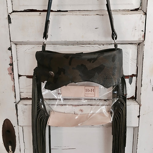 Hetty Clear Stadium Bag Policy,Green Camo Leather &  Matching Fring