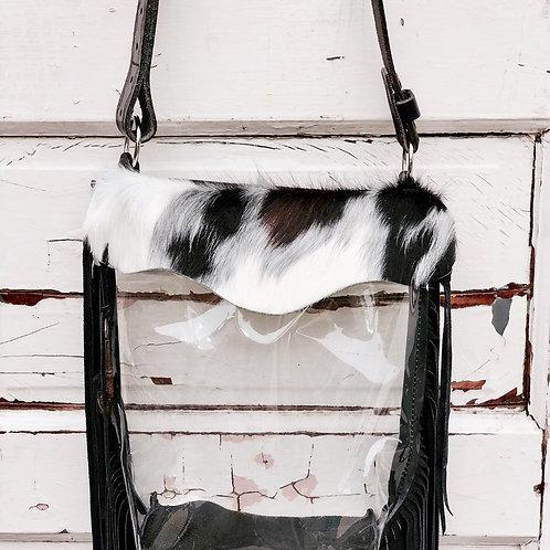 Hetty Clear Tri Colored Hide, Black Suede Fringe Bag Skeleton Key