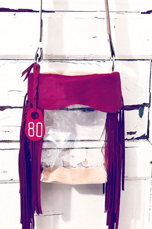 Clear Purse Red Hide, Red Fringe Bag, Cow Tag 80, NFR Bag