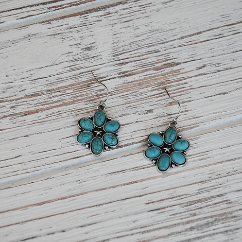 Turquoise Cabochons Floral Drop Earring