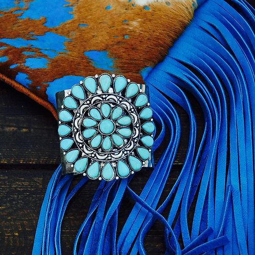 Large Turquoise Colored Squash Blossom Cuff Bracelet