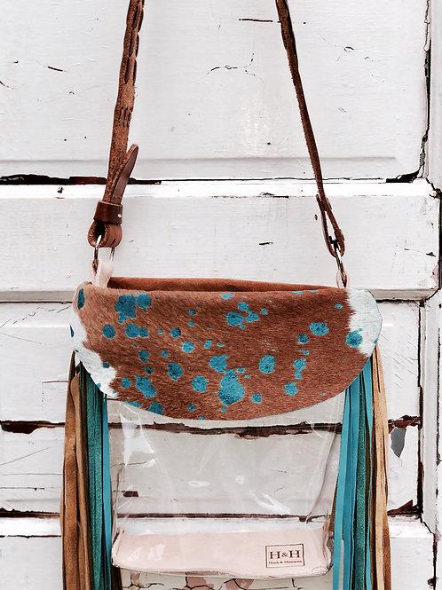 Clear Purse Turquoise Acid Wash Hide, Suede Fringe Clear Bag, NFR Bag
