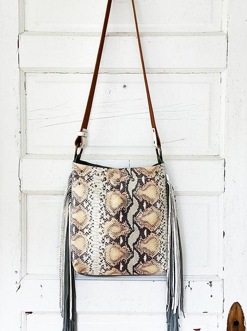 Snakeskin Printed Leather Grey & Snake Leather Fringe
