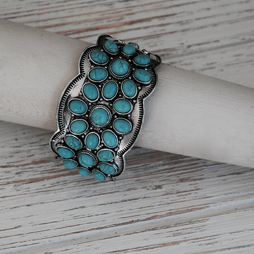 Turquoise Colored Floral Stone Cuff Bracelet