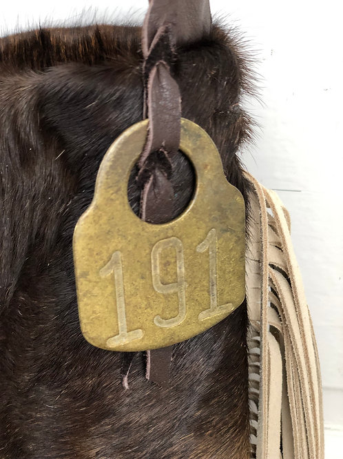 Add on Vintage Brass Specialty Cow Tag to Hand Bag