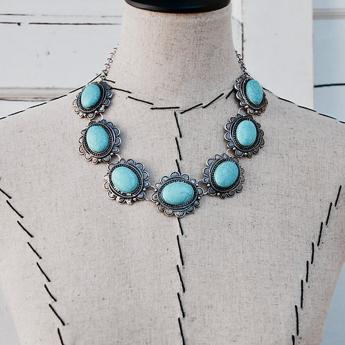 Turquoise Colored Choker Navajo Necklace