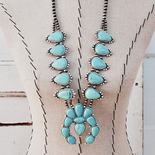 Large Oval Squash Blossom Turquoise Colored Necklace