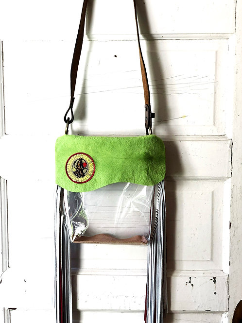 Clear Bag Lime Green Cow Hide & Vintage Salinas Rodeo Patch