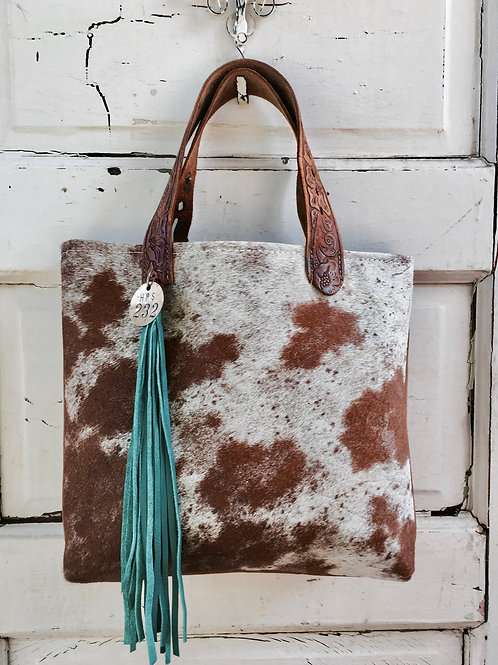 Brown & White Cowhide Tote Turquoise Tassel