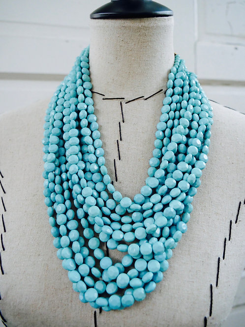 Layered Beaded Statement Necklace - Turquoise