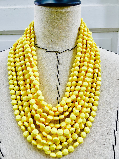 Layered Beaded Statement Necklace = Yellow