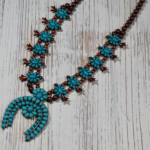 Floral Turquoise Squash Blossom Necklace Copper