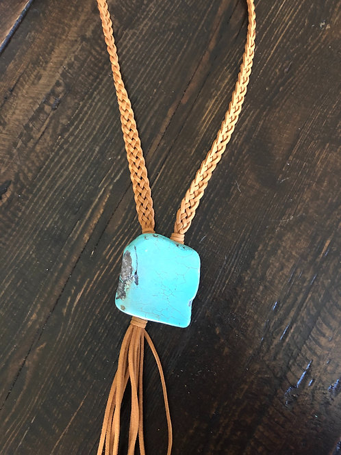 Turquoise Slab Bolo Necklace Butterscotch Brown