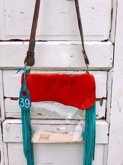 Clear Purse Orange Acid Wash Hide, Turquoise Fringe Clear Bag, NFR Bag