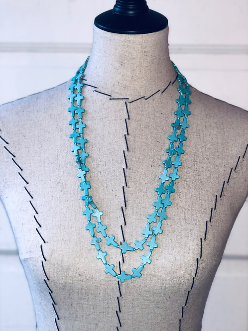 Turquoise Cross Beads Necklace