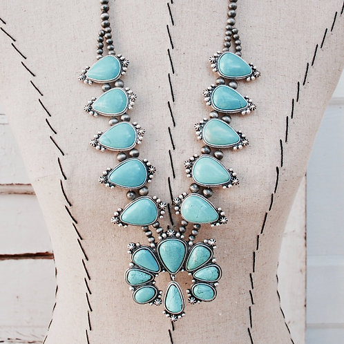 Large Statement Full Squash Blossom Turquoise Colored Necklace