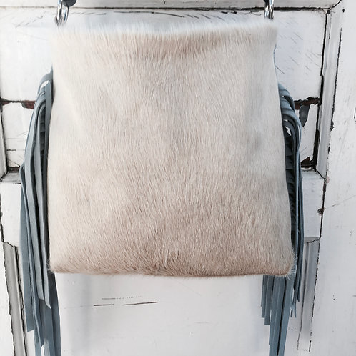 Hank Henrietta Original Bag Tan and White Hair on Hide with Grey Suede