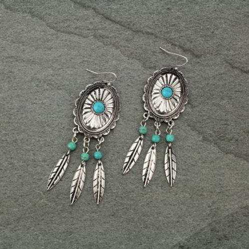Feather Concho Statement Earrings