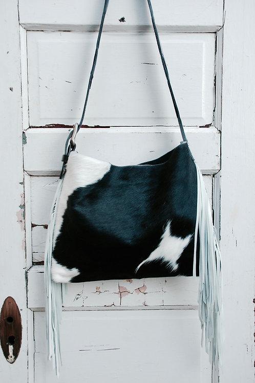 Original Style Classic Black & White Brazilian Cowhide & White Leather Fringe