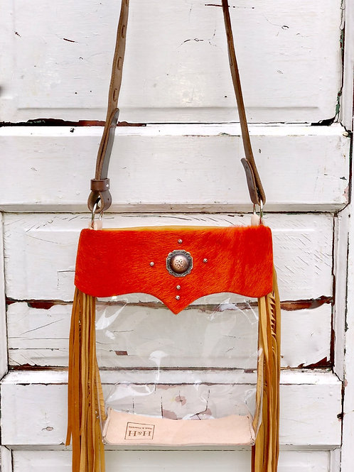 Clear Purse Orange Acid Wash Hide, Deer Skin Fringe Clear Bag, NFR Bag