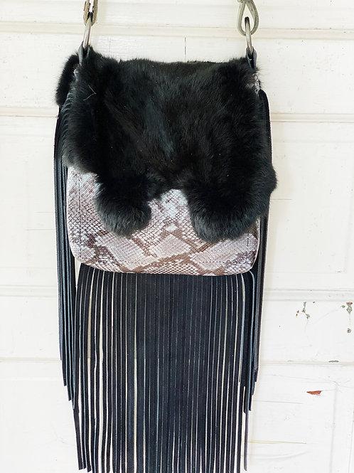 Snakeskin Printed Leather Rabbit Fur Henry Bag