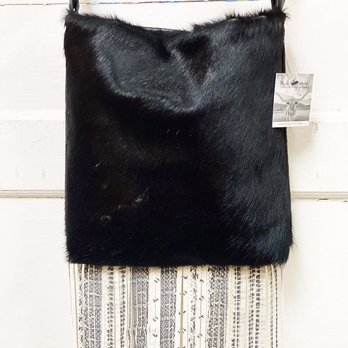 Henry Bag Black Cowhide with Snake Skin Leather Fringe