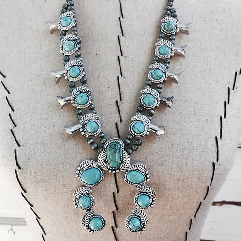 Squash Blossom Turquoise Colored Leaf Necklace