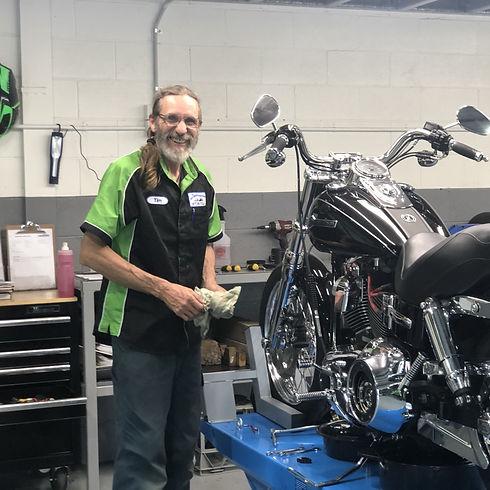 Tim, workshop floorman at destination motorcycle