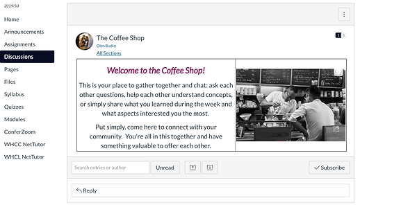 Image of a student discussion board in Canvas LMS called the Coffee Shop