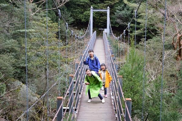 屋久島白谷雲水峡の吊り橋でエクザイル