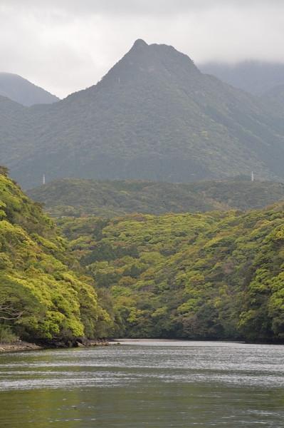 屋久島の明星岳をカヌーツアーより望む