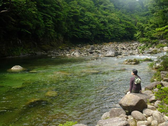 屋久島縄文杉コース河原でまったり