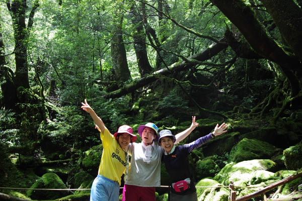 屋久島苔むす森にて記念撮影