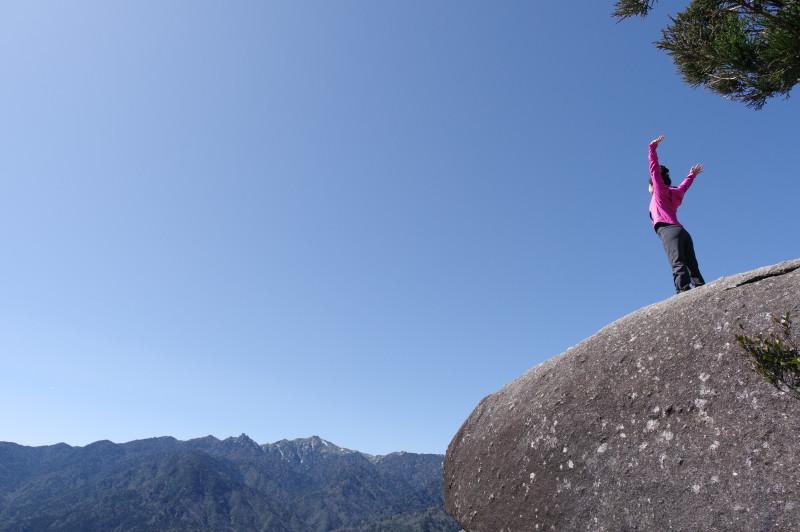 白谷雲水峡太鼓岩の記念撮影