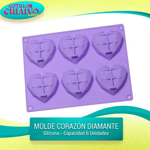 Molde silicona corazón diamante