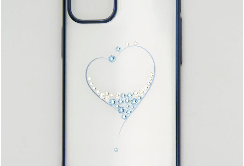 Чехол для iPhone 12 (5.4) Kingxbar прозрачный с сердцем и со стразами