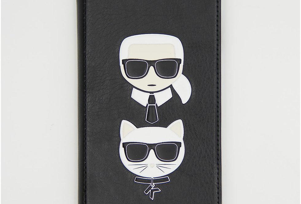 Чехол книжка на iPhone XS Max кожаный Karl Lagerfeld
