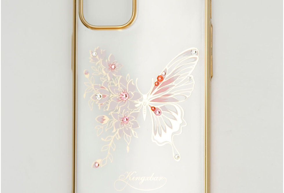 Чехол для iPhone 12 (5.4) прозрачный пластик с бабочкой