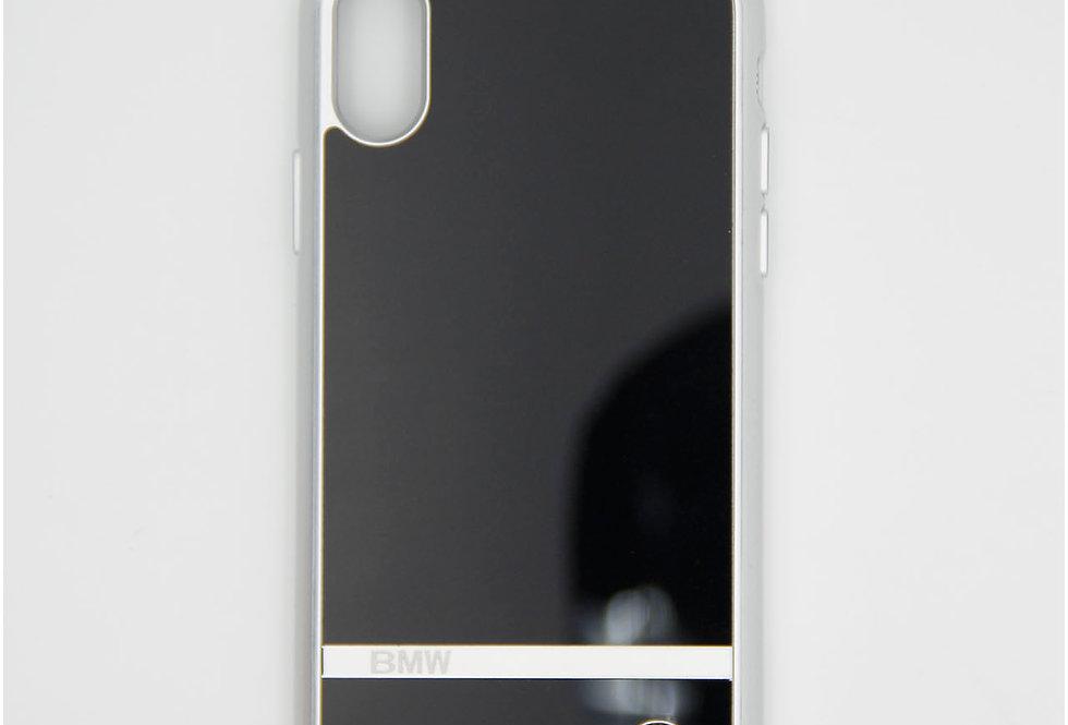 Стеклянный чехол на iPhone Xs с силиконовым бортом BMW