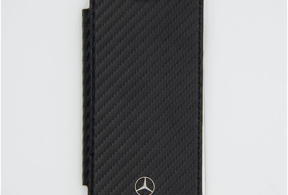 Книжка чехол кожаный на iPhone 8 под карбон Mercedes
