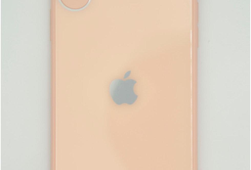 Чехол для iPhone XR стеклянный под логотип с защитой на камеру